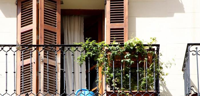 4. Gusseisernen Gitterstäbe vor charaktervollem Fenster