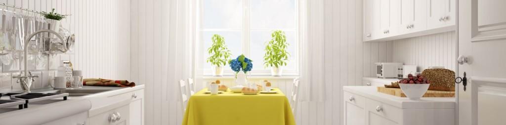 Wer seine Küche als erstes Zimmer in den Landhausstil überführen möchte, der tut gut daran, viel Helligkeit einzuführen. Das kann mit weißer Farbe beginnen. Die passt zu Vielem, wie beispielsweise zu der Holzverkleidung. (#1)