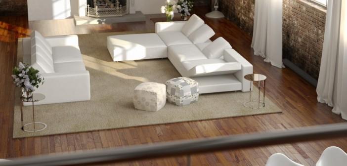 Die Weißen, Bedruckten Sitzwürfel Möchten Natürlich Neben Der Weißen Couch  Stehen. Auf Dem Beige