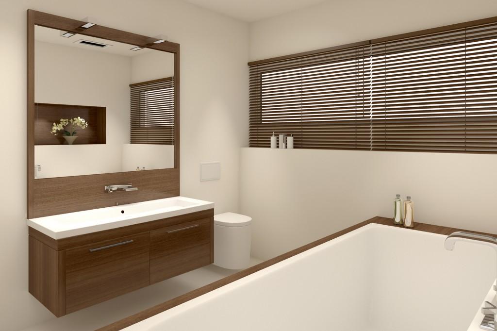 Badezimmer mit Holzelementen: Ein neues Bad ist heute hell und freundlich eingerichtet. (#03)