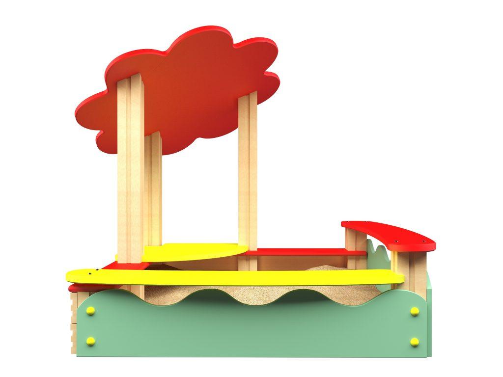 Freche lustige farbige Gestaltung eines überdachten Sandkastens
