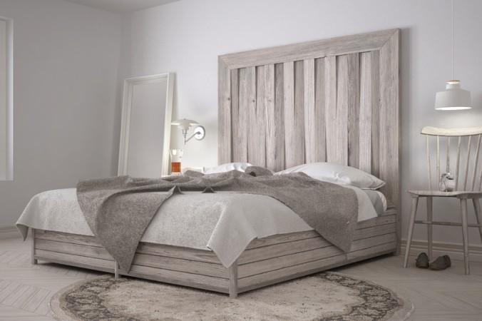 Ein wunderschönes Bett - das DIY Kopfteil zieht jeden Blick auf sich. Simpel aber effektvoll. (#5)