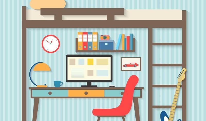 Ikea Hacks für den Schreibtisch: Als Grundlage dient dafür ein Stora Hochbettgestell von Ikea.(#01)