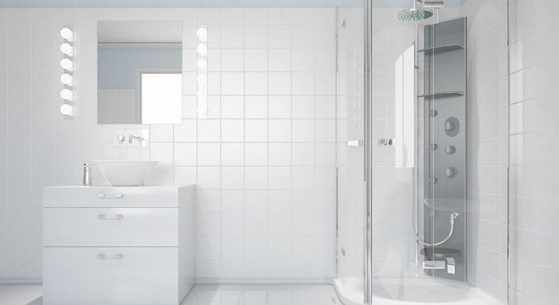 Eine Tür als Abtrennung der Duschkabine ist, wie auch der Duschvorhang, ein echter Klassiker.(#02)